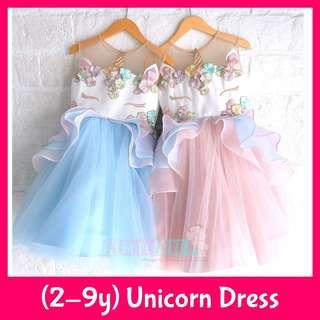 ★FREE DELIVERY★3 Colours★Sizes for 2-10 years old★Unicorn Princess Gown Lace Dress★My Little Pony★Birthday Wedding Function★Flower Girl★Formal Performance