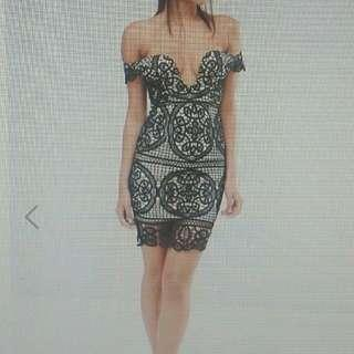 black lace bardot dress size 6 new with tag