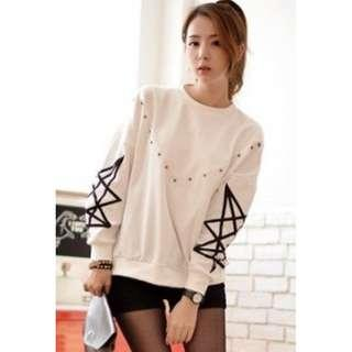 White star sleeve sweatshirt