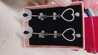 手工玉飾耳環
