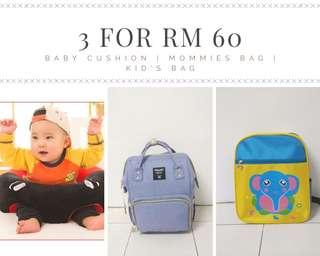 Baby cushion, mommies bags and kids bag package