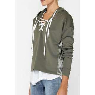 DECJUBA - Khaki lace up hoodie