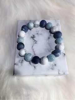 白松石🌲x磨砂藍紋石💙x海藍寶🌊