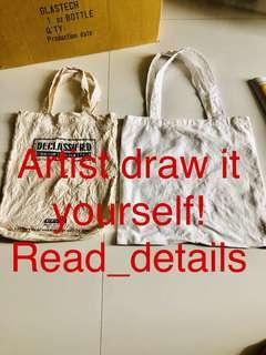 Part 7 empty blank cloth tote bag for your artist talent DRAW