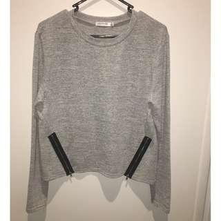 light grey double zip detail long sleeve