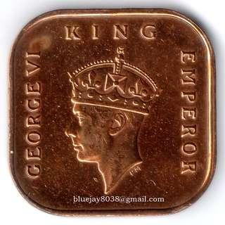 Malaya 1940 ½ Cent King Emperor George VI SQUARE Coin -- 00204-A