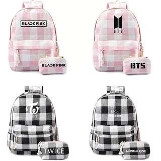 KPOP CHECKERED BACKPACK