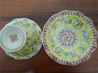Chinese Famille Rose porcelain compote offering plate