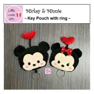 Mickey and Minnie Key Pouch with Ring