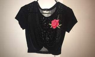 see-through rose embroidered top