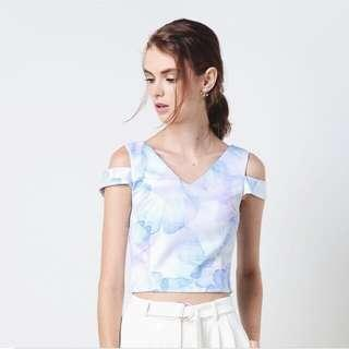 All Well Dressed Roux Double Strap Top In Sky Floral