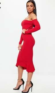 Red fishtail bodycon midi dress