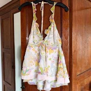 Moda floral silk blouse