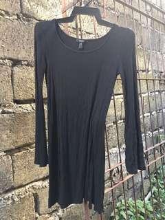 bell sleeves black dress