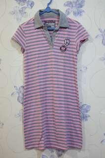 T-shirt garis Pink Abu
