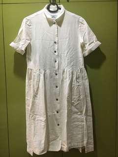 Minimalist Collared Texture-Splice Dress