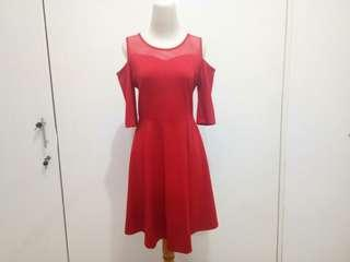 Chic Simple Dress Merah Xincia Pesta Graduasi