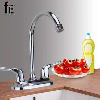 Dual Goose Neck Kitchen Faucet