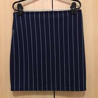 BN Dark Blue Navy White Stripes Skirt