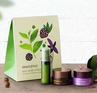 BN Innisfree Best Loved Collection - Green Tea Seed Serum/ Orchid Cream/ Super Volcanic Mask