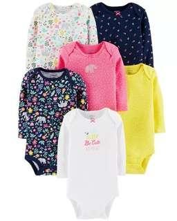 Brand New Instock Carter's 6 Pc Long Sleeve Rompers Bodysuits Onesies Set Girls