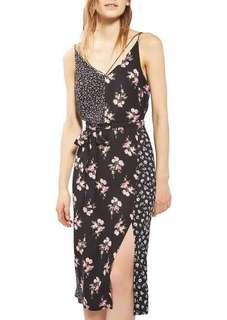 Topshop floral patchwork midi slip dress size 6