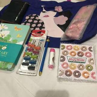 Take All! Elle Bag, Nano Universe wallet, Krispy Kreme mirror, Mapped Binder clips, Crown pen etc. SALE!!!