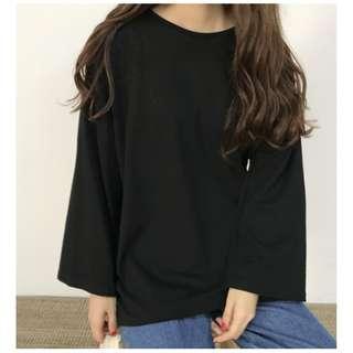🚚 (黑色) 復古基礎款純色長袖T恤