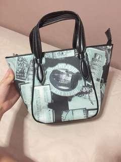 F & G baby blue vintage handbag