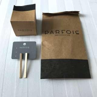 Brand New Authentic Parfois Matte Gold Bar Drop Dangling Earrings