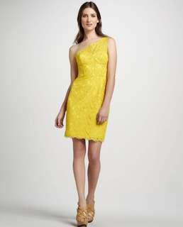 BCBG Maxaria - Mustard one shoulder lace dress