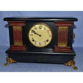 ANTIQUE VINTAGE GILBERT USA MECHANICAL PENDULUM TABLE CLOCK