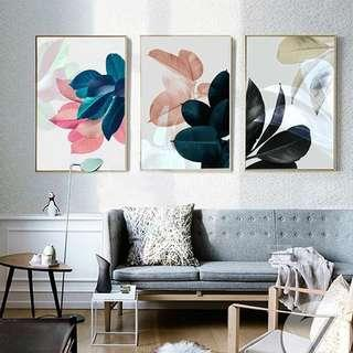 INSTOCK Nordic Pastel Floral Prints Wall Art Canvas Posters