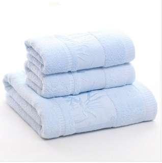 提花竹林加厚竹纖維毛巾(3件裝)