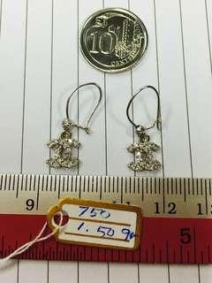 🚚 18K White Gold Dangling Cc Earrings