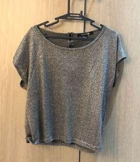 Forever 21 Glitter silver gray crop top