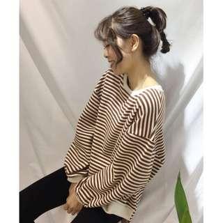 🚚 (咖色條紋) 慵懶風條紋寬鬆圓領長袖上衣