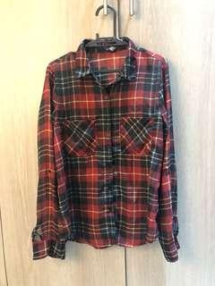 Forever 21 red and black plaid chiffon blouse