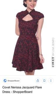 LB covet nerissa jacquard flare dress