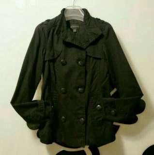 🚚 Mango黑色雙排釦中版風衣、外套