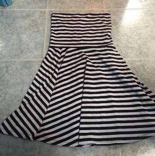 間條tube dress 無肩帶裙