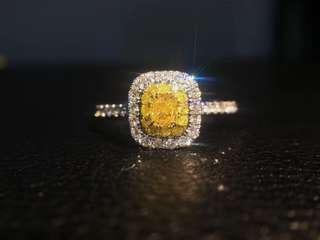 Natural yellow diamond ring天然黃色鑽石戒指