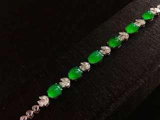 天然翡翠A玉  高冰熒光帝王綠蛋面鑽石手鏈
