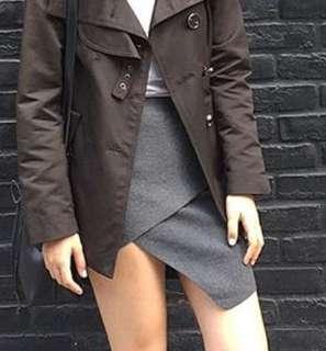 Gray knit body con skirt