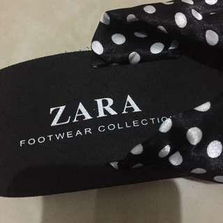 全新Zara 波點黑色厚底拖鞋 沙灘鞋 旅行必備 輕身 增高鞋