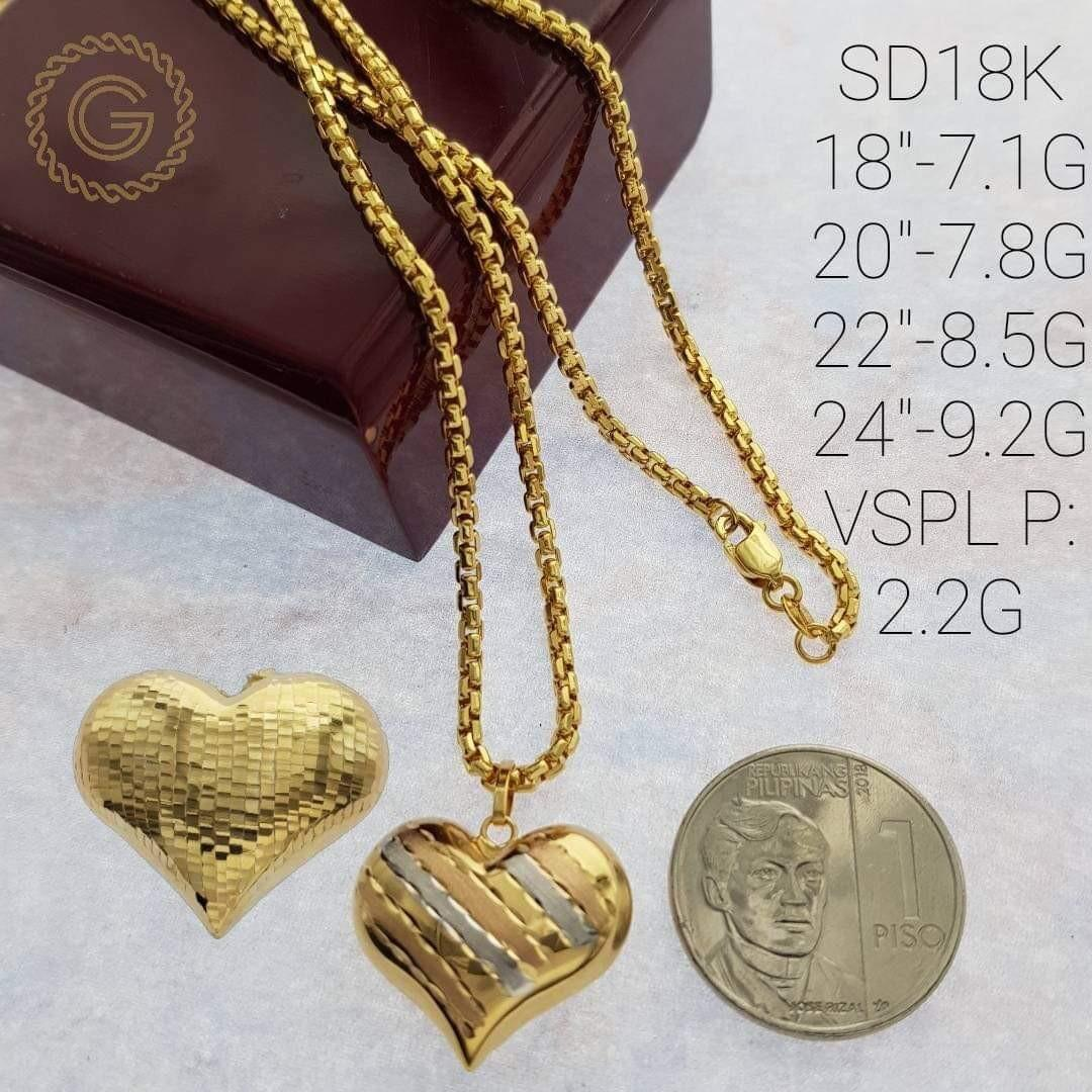 18k Saudi Gold Necklace With Big Heart Pendant Women S Fashion Jewelry Necklaces On Carousell
