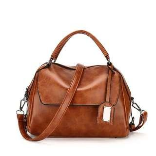 Instock ladies Leather sling Bag with 3 Colors
