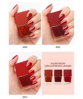 3ce red recipe nail polish-whole set
