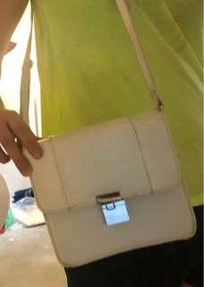 White leather body bag