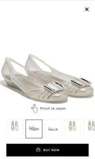 Authentic Ferragamo Jelly Ballet Flat in Silver